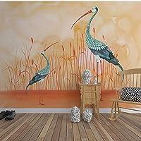 mzznz カスタム壁画オオハシ手描きの壁紙テレビの背景壁紙木材塗装寝室リビングルームコーヒーショップ壁画-280X200Cm