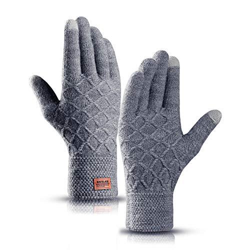 Hzhy Handschuhe Herren Touchscreen,Winterwarme Strickhandschuhe mit Weichem Wollfutter in der Farbe Schwarz Navy (Grau)