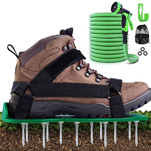 Ohuhu Lawn Aerator Shoes & 25 FT Garden Hose with 9 Function Spray Nozzle, Free-Installation Heavy Duty Spiked Aerating Sandals and Lightweight No-Kink Expandable Water Hose, Ideal Combo for Lawn