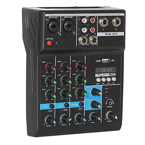Professional Audio Mixer, ALPOWL Sound Board Console System, Interface 4 Channel Digital USB Bluetooth MP3 Computer Input 48V Phantom Power Stereo DJ Studio Streaming FX 16-Bit DSP Processor