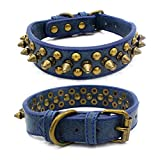 Kawagogo Spiked Studded Dog Collar Anti-bite Collar PU Leather for Small Medium Large Dogs Pitbull Mastiff Bully Boxer Collar (Blue, XL)