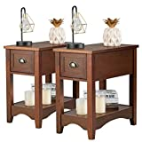 Giantex Chair Side End Table with Drawer, Retro Narrow Tiered Side Table, Compact Nightstand with Storing Shelf, End Table for Living Room Bedroom Home & Office (2, Walnut)
