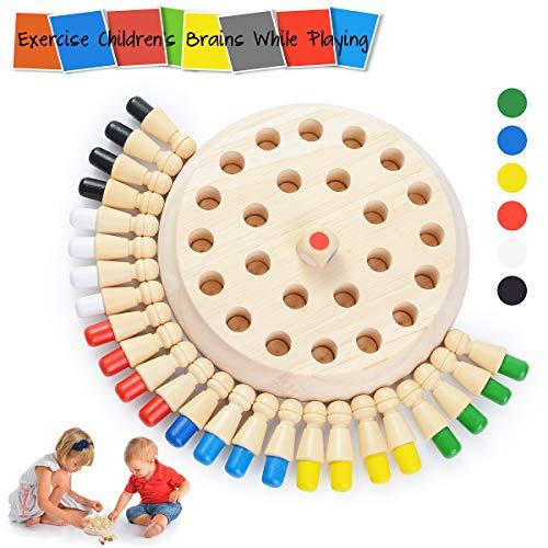 Ulikey Memory Match Stick Schach, Memory Schach Holz, Hölzerne Gedächtnisspiele, Gedächtnis-Schach Lernspielzeug Schachbrett Spielzeug für Jungen und Mädchen
