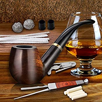 Scotte Tobacco Pipe Handmade Ebony Wood Root Smoking Pipe Gift Box and Accessories