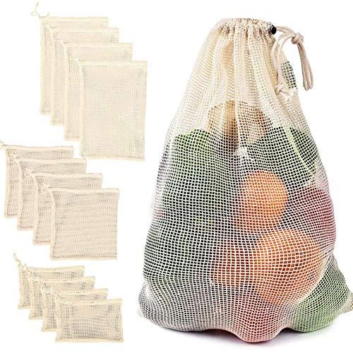 CCZMD 12 Packungen Baumwolle Mesh Gemüsebeutel Tuch Muslin Aufbewahrungstasche Wiederverwendbare Baumwolle Mesh Gemüse Aufbewahrungstasche Küche Obst Gemüse mit Kordelzug,Clear