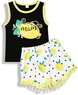 Polinkety Toddler Kid Baby Boy Girl Summer Letter Print Tank Vest Tops Pompom Tassel Shorts Set