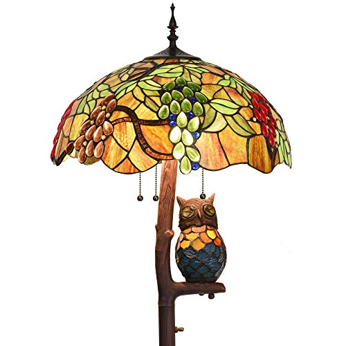 Bieye L10766 Grape Tiffany Style Stained Glass Floor Lamp with 18 inches Wide Lampshade, Owl Side Lamp, 4-Light, 65 inches Tall