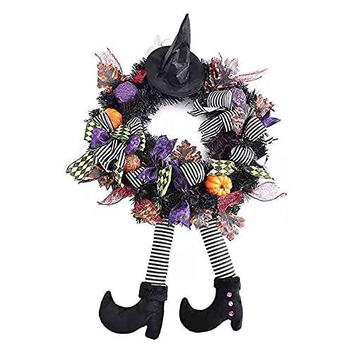 Guirnaldas de Halloween para la puerta delantera, 24 'Decoración de Halloween de la bruja con las piernas del sombrero Puerta de la puerta de la calabaza de la corona de la calabaza de arce artificial