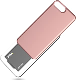 DesignSkin iPhone 8+ Sliding Card Holder Case, Extreme Heavy Duty Triple Layer Bumper Protection Wallet Cover with Storage Slot for Apple iPhone 8 Plus / 7 Plus - Rose Gold