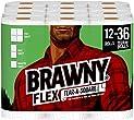 Brawny Flex Paper Towels, 12 Triple Rolls = 36 Regular Rolls, Tear-A-Square, 3 Sheet Size Options, Quarter Size Sheets