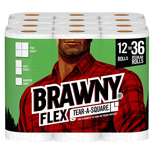 Brawny Flex Paper Towels, 12 Triple Rolls = 36 Regular Rolls, Tear-A-Square, 3 Sheet Size Options,...