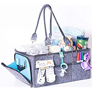 Baby Diaper Caddy Organizer-Baby Shower Registry-Extra Large Changing Table Organizer- Stylish Well Made Gift for Baby Shower Nursery Tote