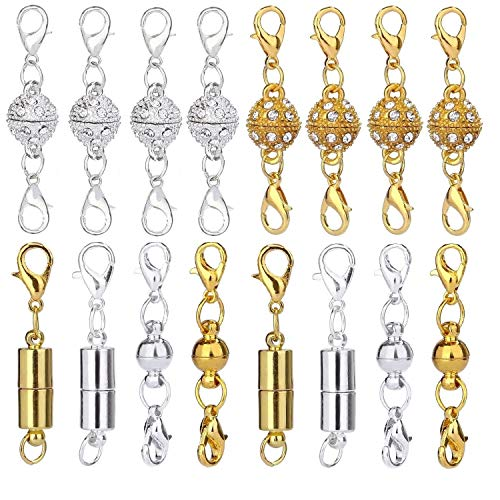 Aiskaer 16 Pcs Magnetic Lobster Clasps for Jewelry Necklace Bracelet Rhinestone Ball Style Cylindrical and Ball Tone Lobster Clasp