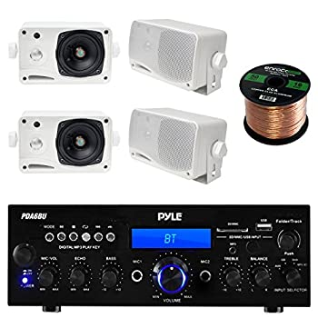 Pyle PDA6BU USB/SD-Card 200-Watt Bluetooth Stereo Amplifier Receiver 4x Pair PLMR24 Pyle 3.5   200 Watt 3-Way Weather Proof Mini Box Speaker System  White  Enrock Audio 16-Gauge 50 Foot Speaker Wire