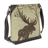Chala Handbags Safari Canvas Mid-Size Crossbody Messenger Bag - Moose Olive