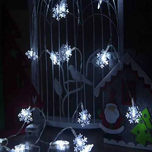 LY-JFSZ Guirlande Lumineuse,Hiver Blanc Flocon De Neige Romantique Maison Moderne Chambre Chambre Éclairage Extérieur Bureau Bar Décorations De Fête 4.5 M 30LED USB Access