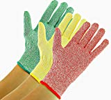 3 Pack TruChef Cut Resistant Gloves - Maximum Level 5 Protection, Food Grade, 3 Fun Colors To Prevent Cross Contamination, Fits Both Hands, Small (Medium)