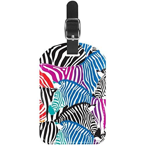 Etiquetas de Equipaje sin Costuras de Color Cebra para Maleta de Viaje, 1 Paquete