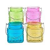 Teelicht Windlicht Glas Teelichthalter Windlichthalter zum Hängen Gartendeko pastell 4er Set