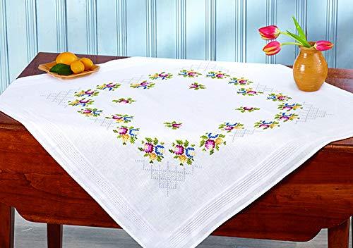 Kamaca - Kit de punto de cruz para mantel (80 x 80 cm, algodón, con plantilla de bordado)