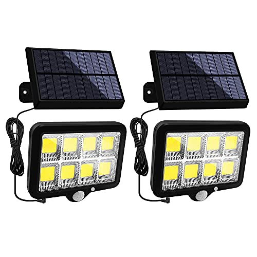 Solar Lights Outdoor Motion Sensor 160 LED Adjustable Solar Panel Security Light IP65 Waterproof Solar Powered Flood Lights with 3 Lighting Modes for Garden Wall Yard Pathway(2 Pack)