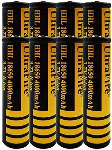 8pcs 18650 3.7v baterías Recargables Li-Ion 4000mAh Batería de Litio de Litio de Gran Capacidad Baterías Superiores Se Pueden recargar 1200 Veces Baterías Recargables Baterías 18 * 67mm