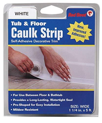 """Red Devil 0170 (Wide) Tub & Floor Caulk Strip, 1-1/4"""" x 5', White"""