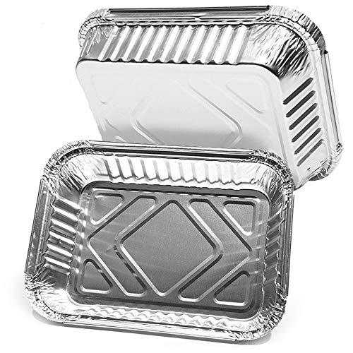 Heiqlay Vaschette Alluminio Monouso, Vassoio Alluminio Barbecue Contenitori Alluminio Monouso Ottimo per cuocere arrostire Cucinare e conservare Gli Alimenti e Altro (20 Pezzi, 21x14x4 cm)