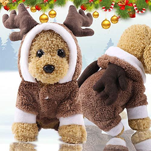 HELEVIA Disfraz de Navidad para Perro, de la Marca, Capucha y diseño de Reno