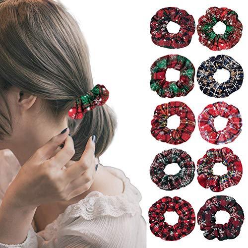 10 unids Navidad anillos de pelo cuadros copos de nieve bandas de pelo moda cola de caballo lazos cuerda accesorios para el cabello