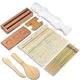 Sushi Making Kit for Beginner (12 pcs), Bamboo Sushi Mat, Bazooka Sushi Maker, all-in-one Sushi Making Set, Sushi Rolling Mats/Bamboo Maki Mold/Bamboo Chopsticks/Paddle/Spreader/Roll On/Condiment Tray