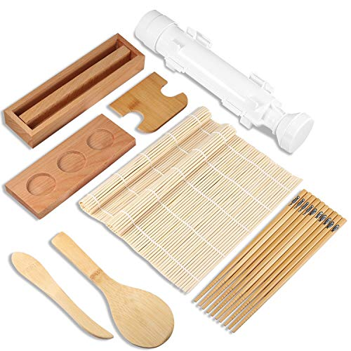Sushi Making Kit for Beginner (12 pcs), Bamboo Sushi Mat, Bazooka Sushi Maker, all-in-one Sushi Making Set, Sushi Rolling Mats/Bamboo Maki Mold/Bamboo Chopsticks/Paddle/Spreader/Roll On/Condiment Tray