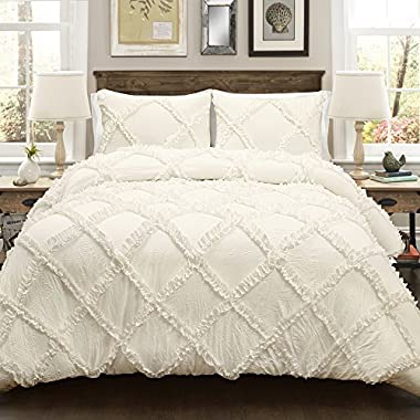 Lush Decor Lush Décor Ruffle Diamond 3 Piece Comforter Set, King, Ivory