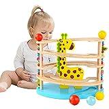 Nukdey Giocattoli in legno per bambini , corsa in marmo in legno con 3 palline, corsa in marmo di alta qualità con accessori in colori vivaci, giocattoli da 3 anni