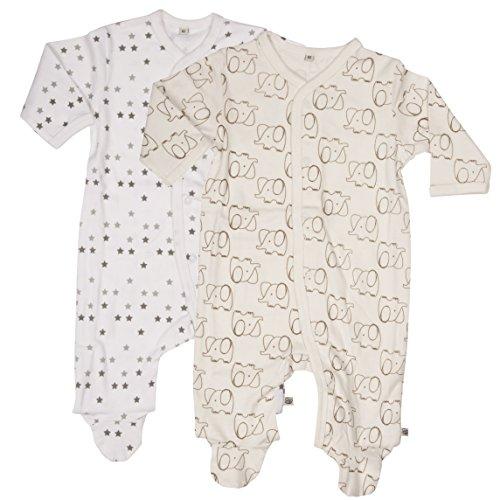 Pippi 2er Pack Baby Unisex Schlafstrampler mit Aufdruck, Langarm mit Füßen, Alter 0-1 Monate, Größe: 50, Farbe: Weiß, 3821