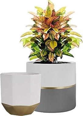 La Jolíe Muse Pots de Fleurs en Céramique Pots de Plantes Intérieur & Extérieur Maison Décor Bureau Jardinière Salon Pack