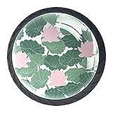 Juego de 4 pomos de armario de cocina de 3,18 cm, pomos de cristal para cajones con kit de herramientas para armarios de muebles de dormitorio, cocina, hojas de color rosa y verde loto