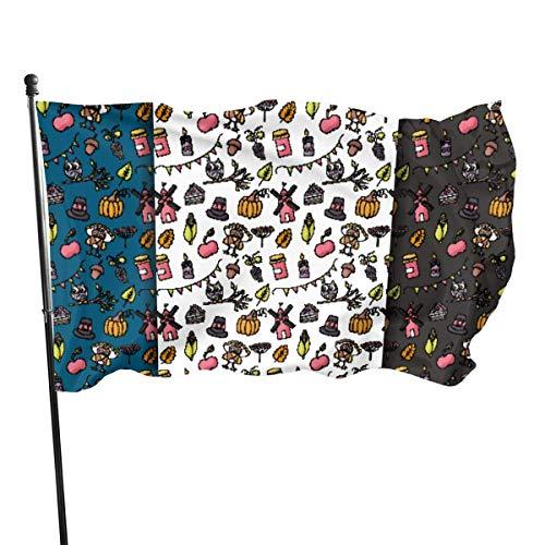 Bandera de jardín, Acción de Gracias, otoño cosecha día de Turquía, color vivo y resistente a los rayos UV, doble costura para patio, bandera de temporada, banderas de pared de 3 x 5 pies