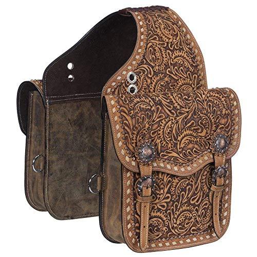 Manaal Enterprises Cow Hide Echtleder Western Trail Tooling Carving Pferdesatteltasche, Größe: 12