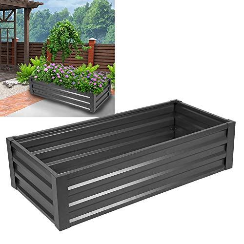 Jardinera para flores - Maceta para plantas de jardín de hierro galvanizado y acero para exteriores, 125 x 57 x 31 cm, gris