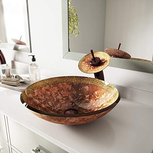 VIGO Janus Glass Vessel Bathroom Sink and Waterfall Faucet
