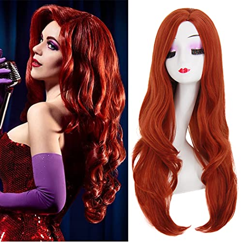Jessica Rabbit Wig Costume Women Long Wigs for Poison Ivy Costume Cosplay with Wig Cap Perfect for Party Halloween BU040R