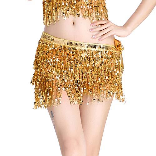 ZHOUBA - Mini falda de bailarina con flecos y lentejuelas, para mujer