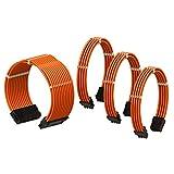 LINKUP - PSU Kabelverlängerung Ummantelt GPU Nach Maß PC Stromversorgung mit Kamm-Kit| 1x 24 P (20+4) | 1x 8 P (4+4) CPU | 2X 8 P (6+2) GPU Set | 30CM 300MM – Orange