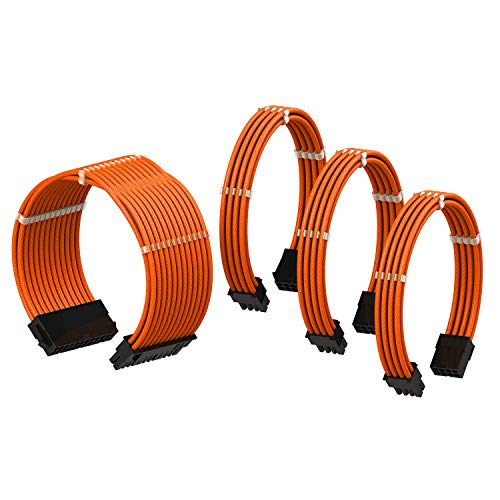 LINKUP - PSU Cable Extension Sleeved Custom Mod GPU PC Power Supply Braided w/Comb Kit |1x 24 P (20+4) | 1x 8 P (4+4) CPU | 2X 8 P (6+2) GPU Set | 30CM 300MM - Orange