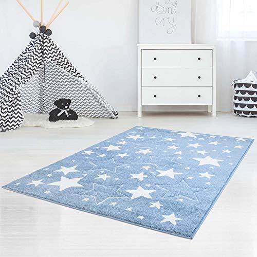 carpet city Kinderteppich Flachflor Bueno Konturenschnitt Glanzgarn mit Sterne in Blau für Kinderzimmer, Größe: 120x170 cm