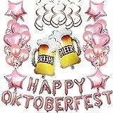 SHLMO Oktoberfest bar globo 16 pulgadas aluminio dorado película globo grande cerveza taza lugar decoración ambiente feliz Oktoberfest oro rosa conjunto