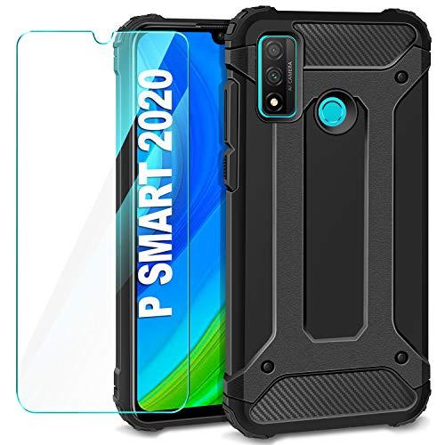 AROYI Funda para Huawei P Smart 2020 + Protectores Pantalla Cristal Templado, Robusta Carcasa Híbrida TPU + PC de Doble Capa Anti-arañazos Caso para Huawei P Smart 2020 Negro