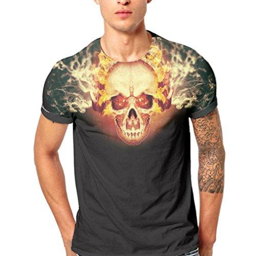 Lenfesh Camisa de Manga Corta de la Camiseta de la Manga de la Camiseta de la impresi/ón del cr/áneo 3D para Hombre Deportiva 2018 Ofertas
