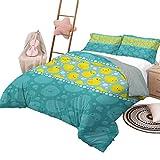 Juego de ropa de cama de pato de goma Patitos de dibujos animados amarillos nadando en el agua con burbujas divertidas Aqua Colors Juego de funda nórdica elegante para el hogar Verde azulado con 2 fun